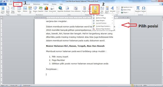 Cara Membuat Nomor Halaman Bagian Kiri, Kanan, Tengah, Atas dan Bawah di Microsoft Word