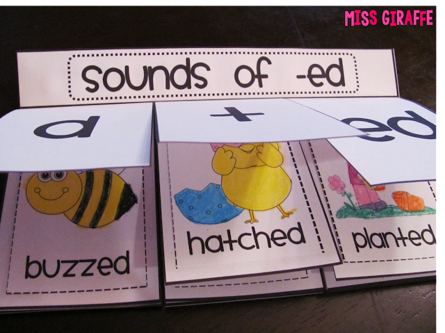 Sounds of -ed book where kids sort picture words into what sound ed makes
