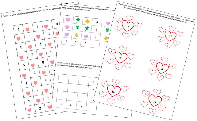 na zdjęciu trzy strony łamigłówek matematycznych w wersji walentynkowej czyli z sercami w roli ozdobników i elementów łamigłówek