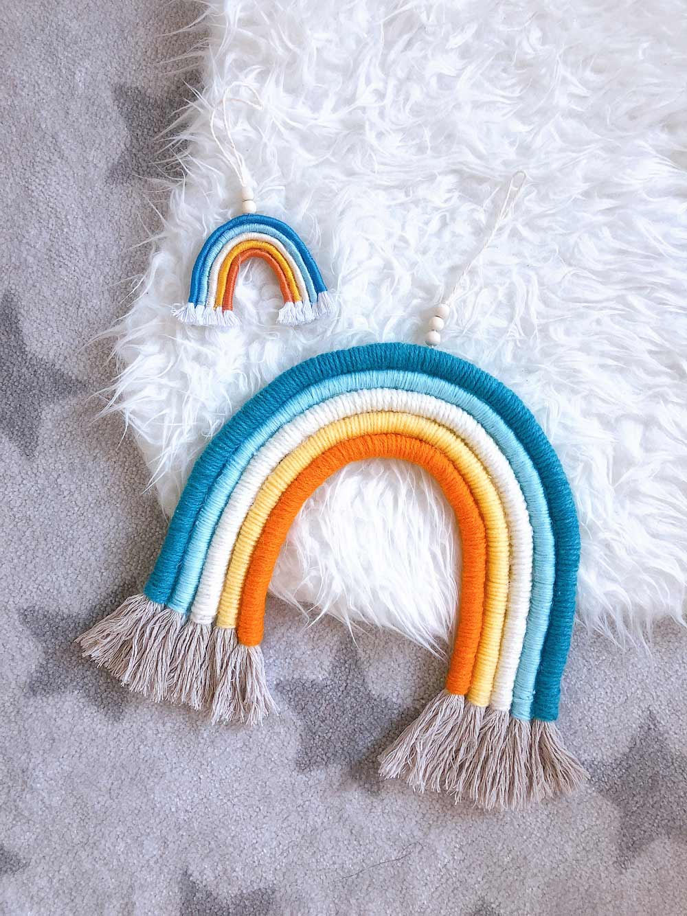 DIY Rainbow Wall Hanging Tutorial (with matching mini charm)