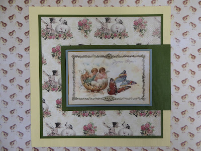 Easter card cherubs and butterflies