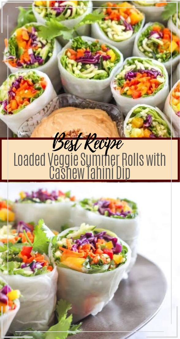 Loaded Veggie Summer Rolls with Cashew Tahini Dip #vegan #vegetarian #soup #breakfast #lunch