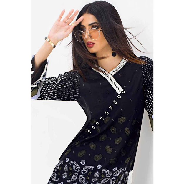 Gul Ahmed Black & white unstitched shirts