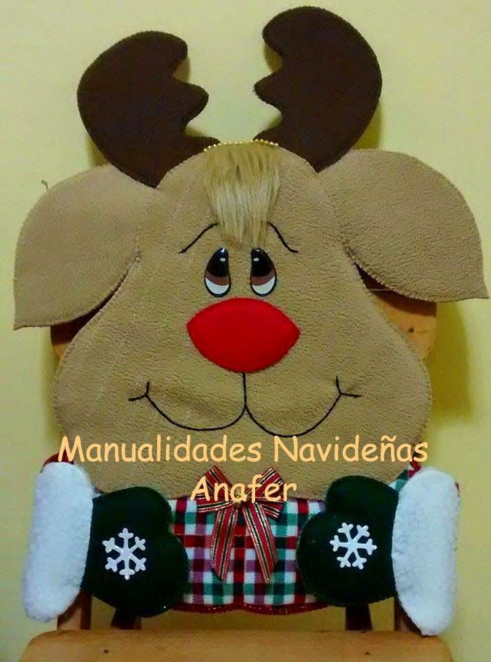 Manualidades anafer cubresillas navide os for Manualidades renos navidenos