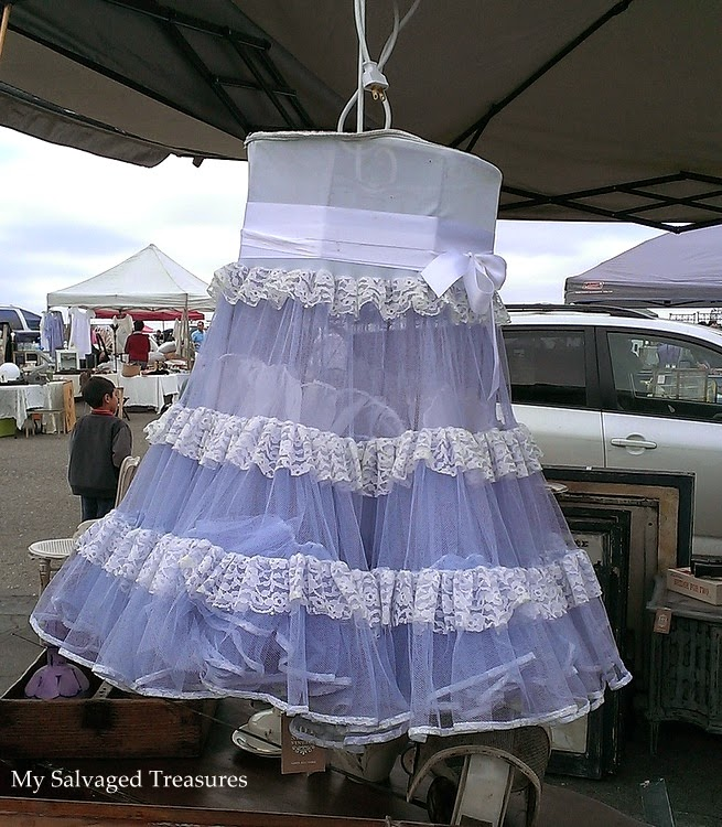 lamp shade covered with a vintage skirt
