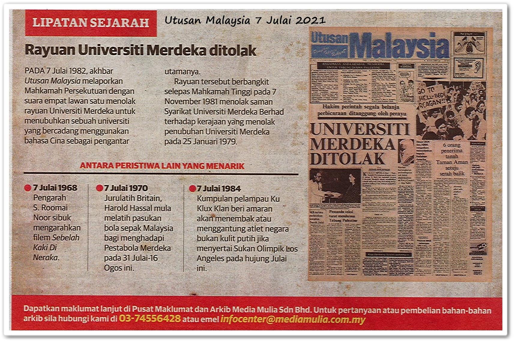 Lipatan sejarah 7 Julai - Keratan akhbar Utusan Malaysia 7 Julai 2021