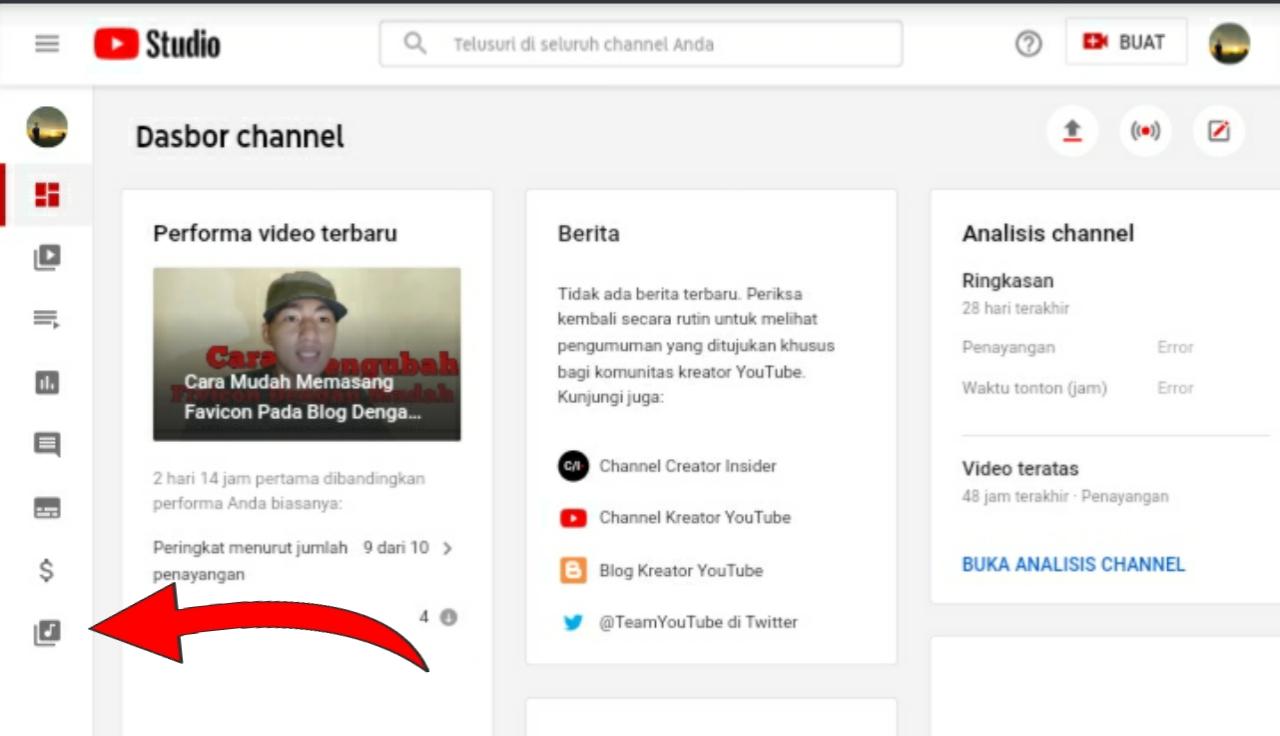 Cara download musik untuk backsound youtube