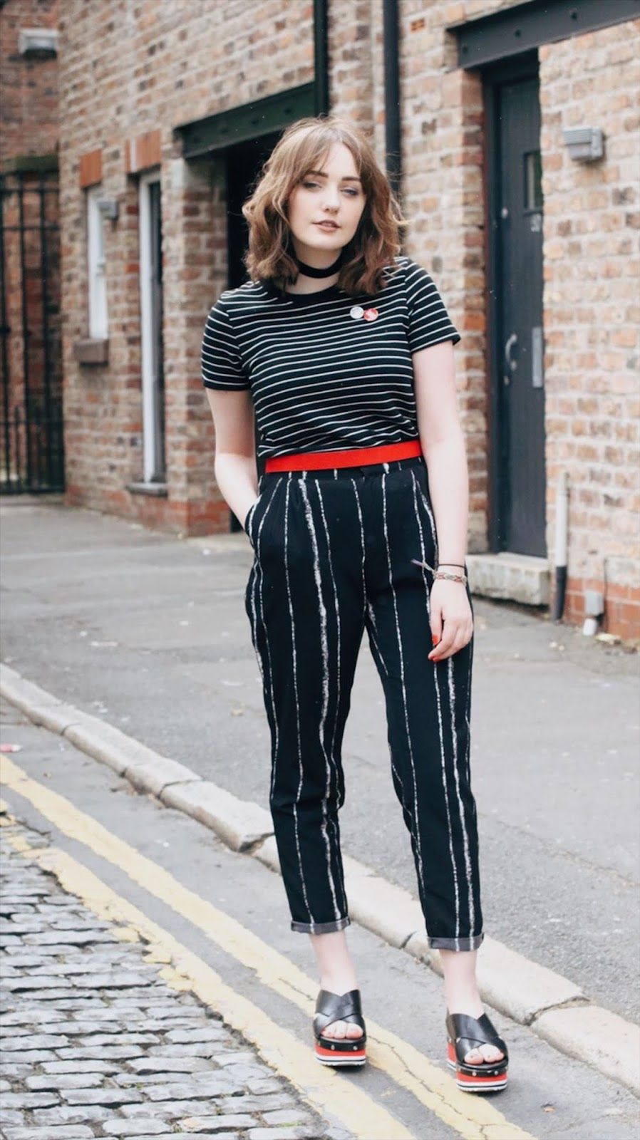 Liverpool style blogger black, white and red outfit