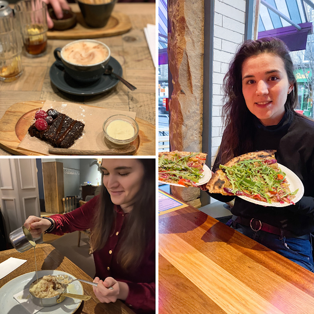 Layout with 3 photos. In the top left there is a brownie with chai latte on a wooden table. The bottom left is myself in a red skirt pouring a custard over apple crumble. The main right photo is me smiling with two big slices of pizza