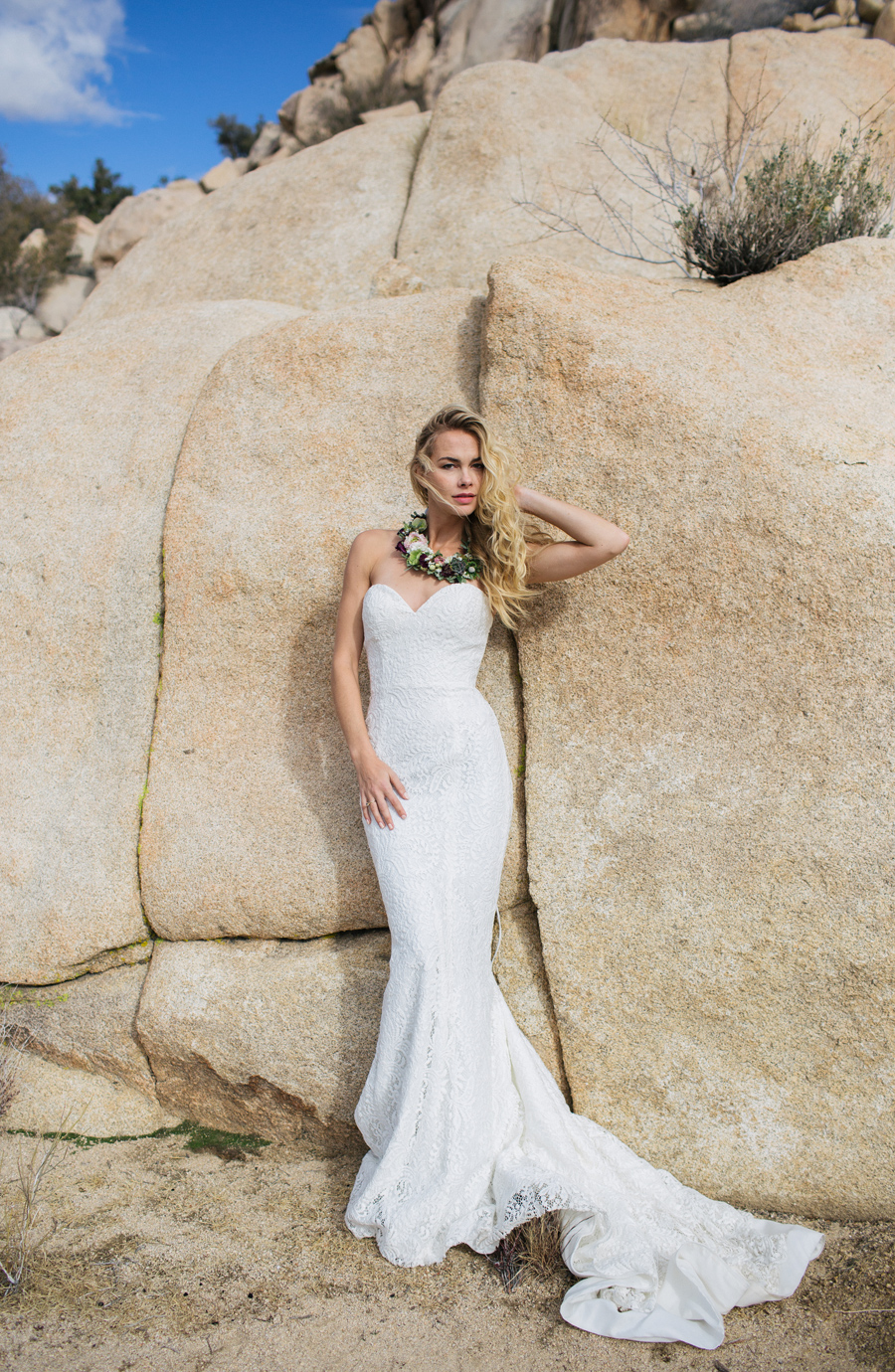 Destination Wedding ideas / Photography: Kacie Q. Photography / Styling + Planning: Katalin Green / Swimwear: Nicolita Swimwear / Location: Joshua Tree National Park / Necklace: Mountainside Designs / Ring: Fly Free Designs / Headpiece: Jennifer Behr / Flowers: Katalin Green + Mac's Floral