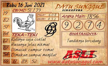 Prediksi Datu Sunggul Hari Ini SGP Rabu 16 Juni 2021