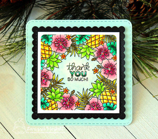 Thank You Summer Card by Larissa Heskett | Tropical Fringe Stamp Set, Tropical Leaves Stencil and Frames Squared Die Set by Newton's Nook Designs #newtonsnook #handmade