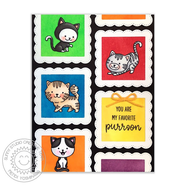 Sunny Studio Stamps: Purrfect Birthday & Fancy Frames Favorite Purrson Cat Card by Mendi Yoshikawa