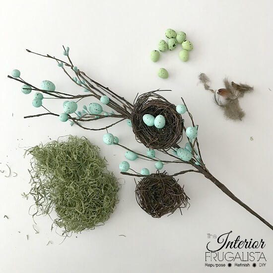 DIY Painted Books Embellished With DIY Bird Nest