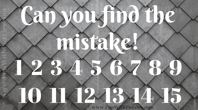 Can you find the mistake! 1 2 3 4 5 6 7 8 9 10 11 12 13 14 15