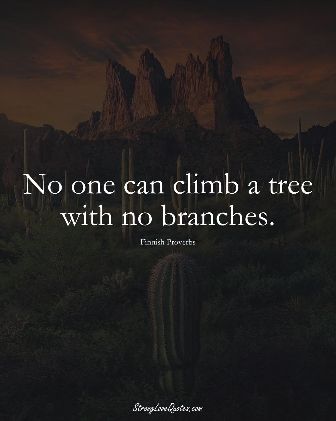 No one can climb a tree with no branches. (Finnish Sayings);  #EuropeanSayings