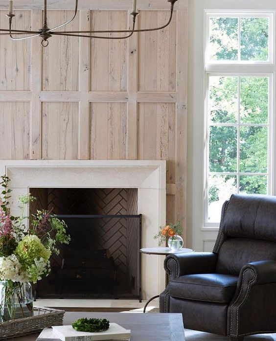 Wood fireplace wall