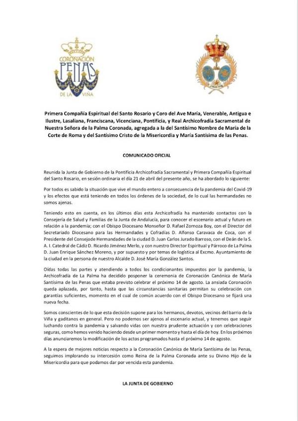Aplazada la Coronación Canónica de María Santísima de las Penas de Cádiz