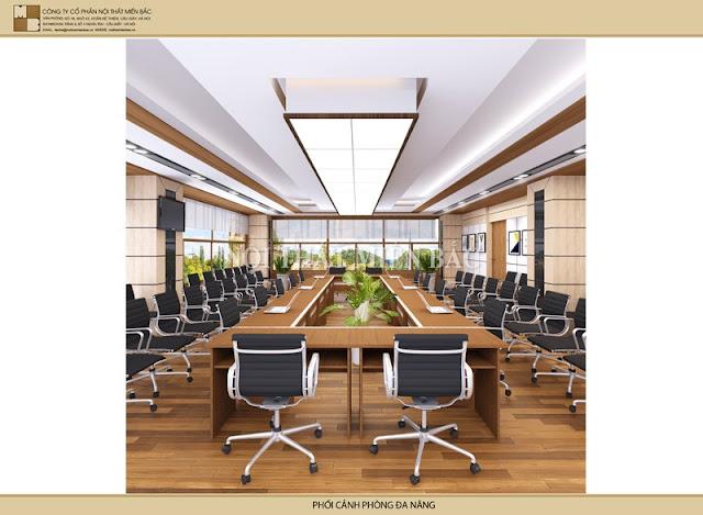 Thiết kế nội thất phòng họp với những gam màu sắc phù hợp mang đến sự hài hòa và đáp ứng cho không gian họp hiệu quả nhất