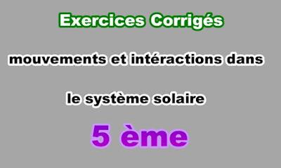 Exercices Corrigés de Mouvements et Intéractions dans le Système Solaire 5eme PDF