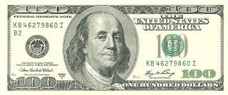 ورقة من فئة 100 دولار تحتوي على صورة بنجامين فرانكلين، أحد أبرز مؤسسي الولايات المتحدة، وله عدة اختراعات واكتشافات، وهو أحد أبرز دعاة إلغاء حكم الإعدام في أمريكا