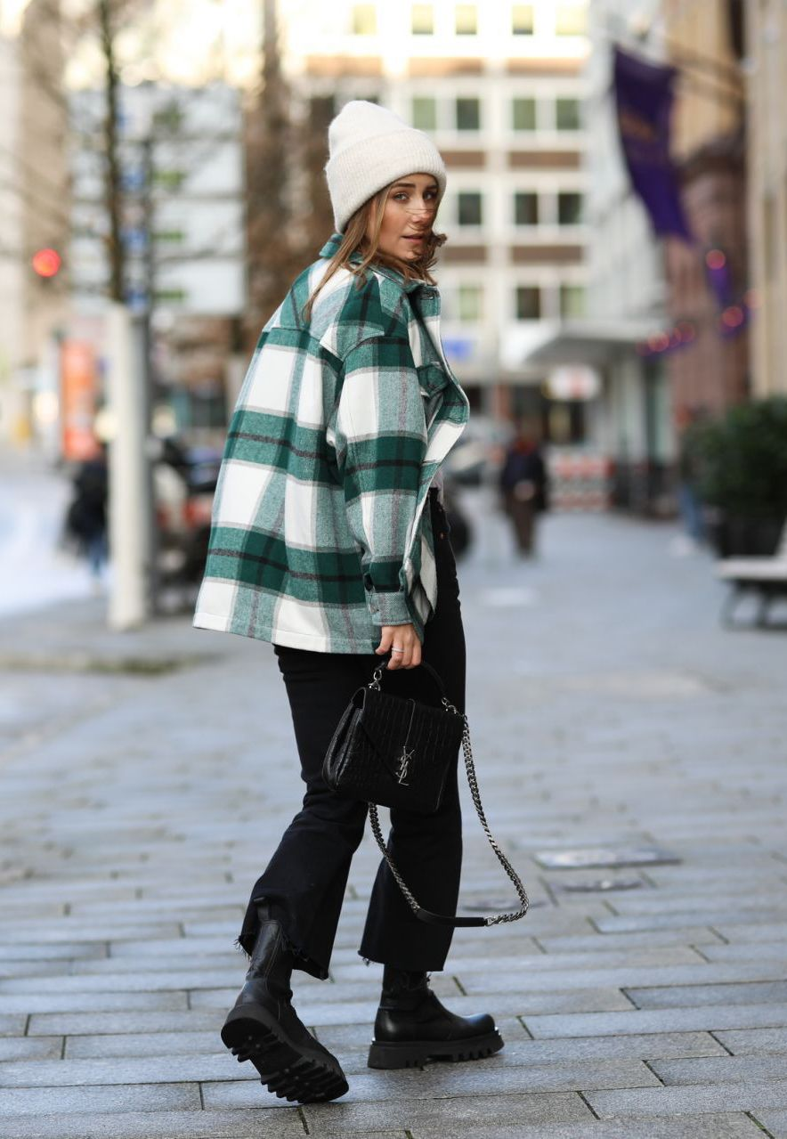 25 Cool Beanies to Top Off Your Fall and Winter Looks — fall and winter outfit idea with a plaid shacket, cropped black jeans, and lug-sole boots