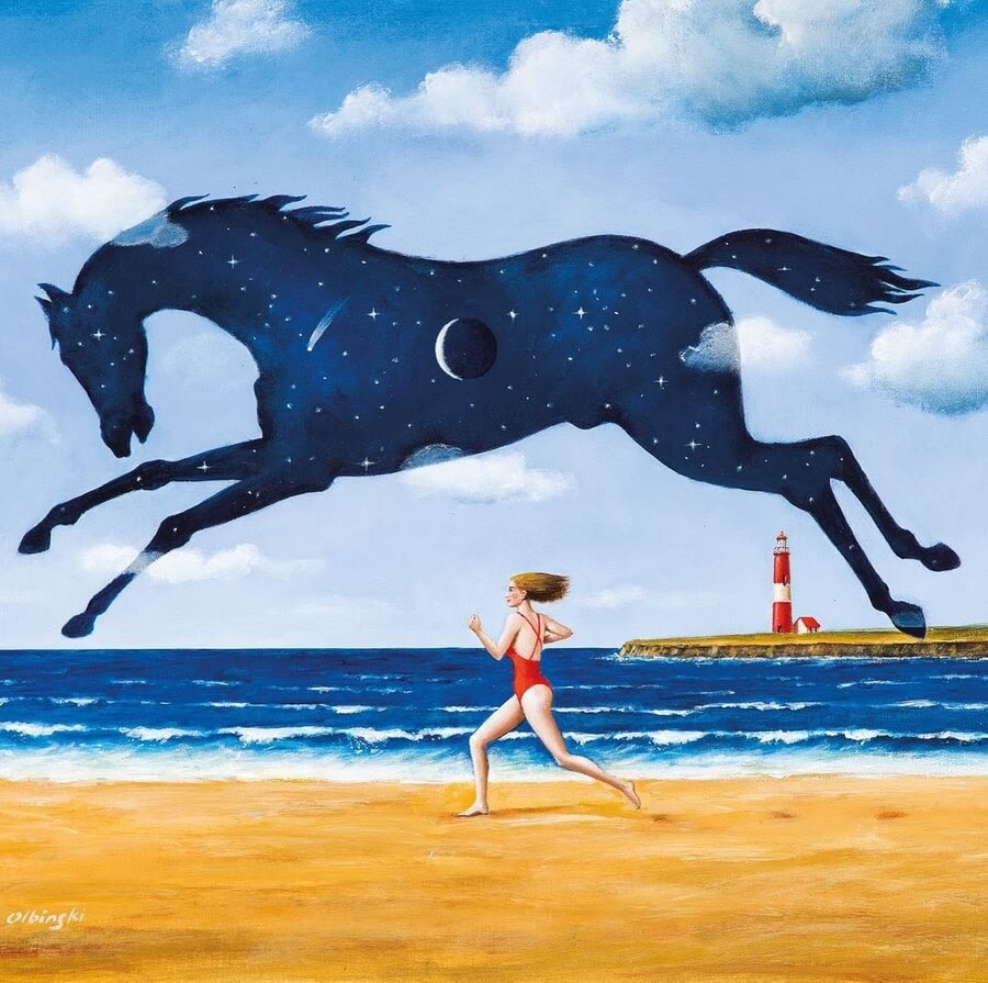 09-A-race-on-the-beach-Rafal-Olbinski-www-designstack-co