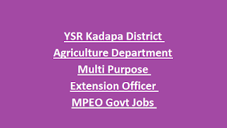 YSR Kadapa District Agriculture Department Multi Purpose Extension Officer MPEO Govt Jobs Recruitment 2018