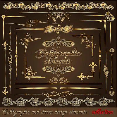 تحميل زخارف وديكورات ذهبية بصيغة الفيكتور لأعمال التصميم