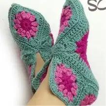 Pantuflas con grannys a Crochet