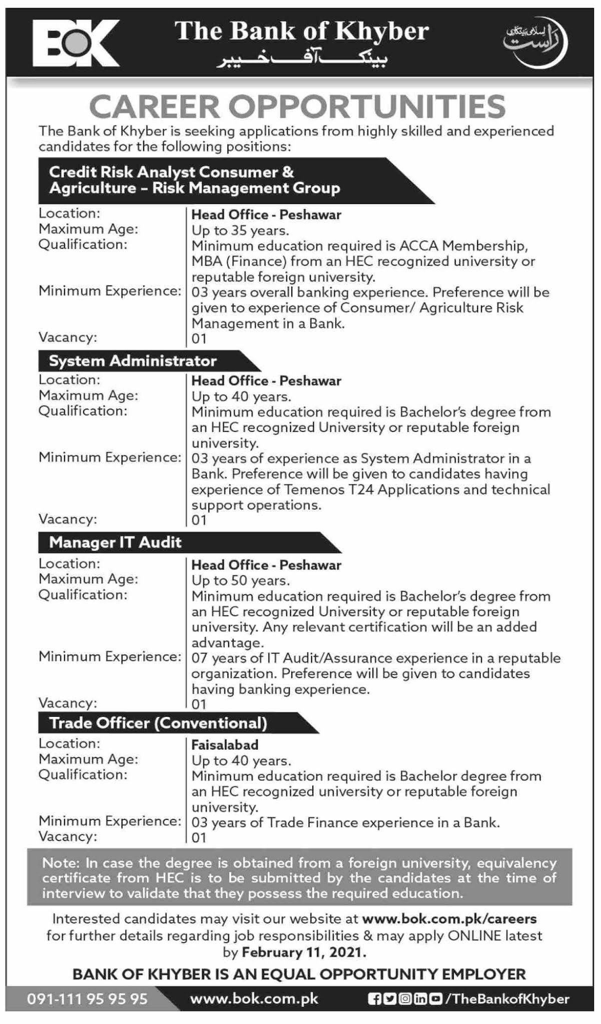 BOK Job Advertisement - Job BOK - BOK Careers - BOK Jobs - Bank of Khyber Career - Bank of Khyber Jobs 2021 - Bank of Khyber Jobs Advertisement