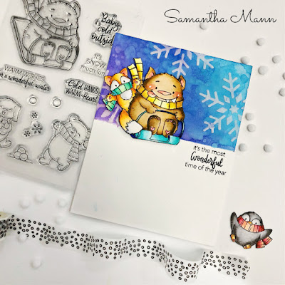 The Most Wonderful Time of the Year Card by Samantha Mann, Get Cracking on Chrsitmas, Evelin T Designs, Christmas, Cards, Card Making, #evelintdesigns #christmascard #christmas #getcrackingonchristmas #distressinks #watercolor