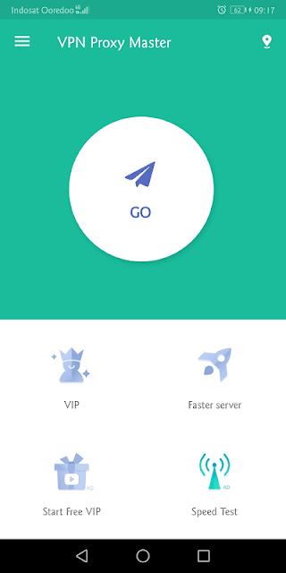 cukup tekan tombol go untuk mengaktifkan vpn master
