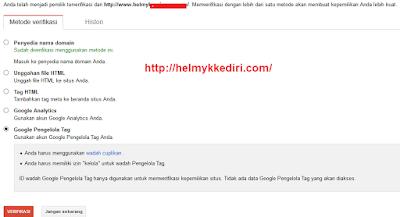 Cara verifikasi situs blog kegoogle webmaster3