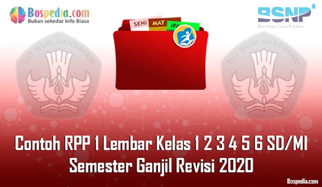 Contoh RPP 1 Lembar Kelas 1 2 3 4 5 6 SD/MI Semester Ganjil Revisi 2020
