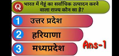 Q2.भारत में गेहूं का सर्वाधिक उत्पादन करने वाला राज्य कौन सा है?
