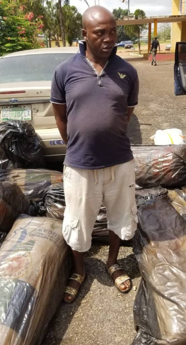 Photo Of Man Who Was Caught With 17 Bags Of Suspected Marijuana In Ogun