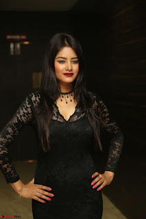 Actress Monica in spicy transparent Black Top at O Pilla Nee Valla Movie Audio Launch Feb 2017 170.JPG