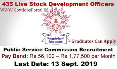 Public Service Commission Recruitment 2019 - Govt Jobs for 435 Live Stock Development Officers in Maharashtra