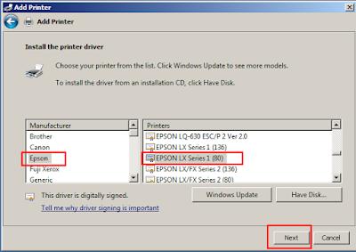 Cara install Driver Printer Epson LX 800
