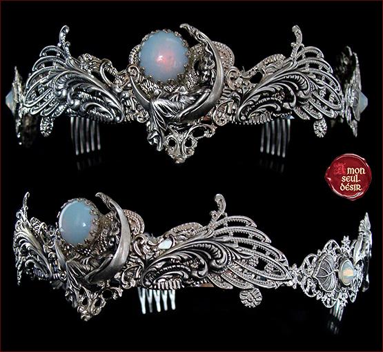 couronne pierre de lune mariage medieval elfique diademe croissant de lune blanc opale