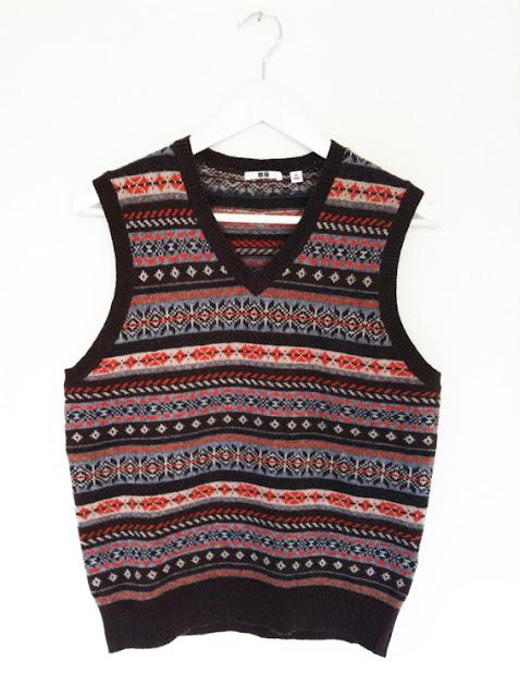 details about mens fairisle vest sleeveless retro vintage jumper tanktop tank top golf sweater.