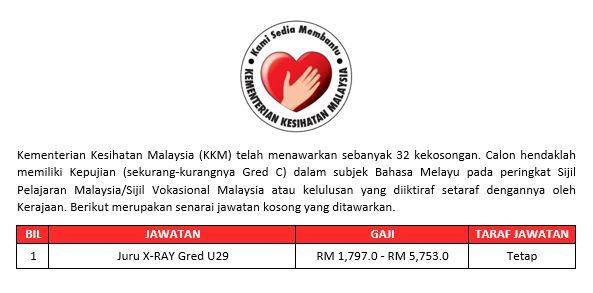 Kementerian Kesihatan Malaysia / 32 Kekosongan Dibuka Oktober - November 2019