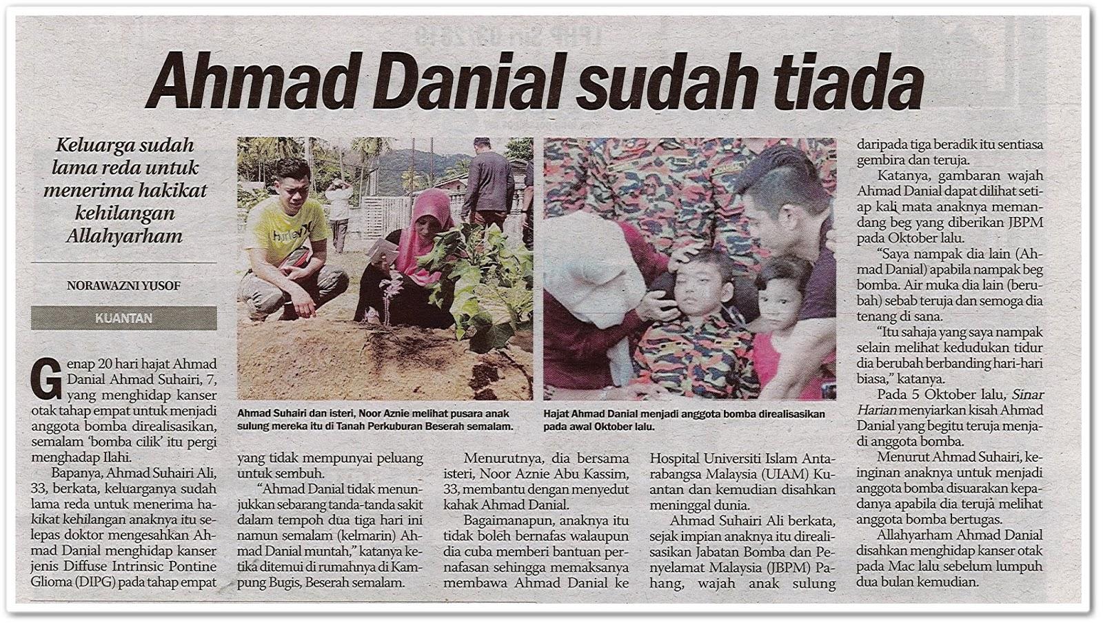 Ahmad Danial sudah tiada - Keratan akhbar Sinar Harian 26 Oktober 2019