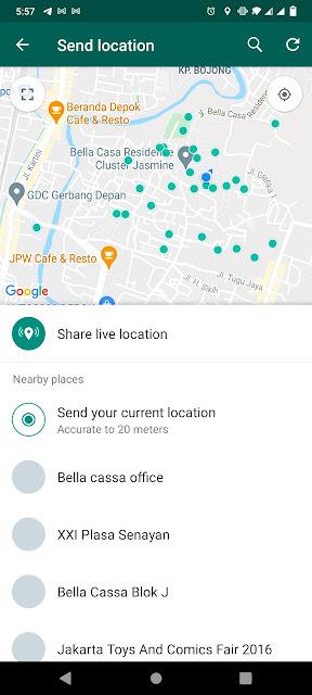 share lokasi whatsapp secara statis