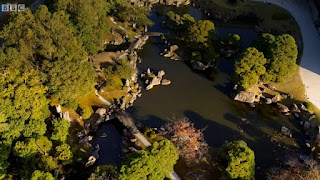 Nijo Castle Pond - Three islands overhead view