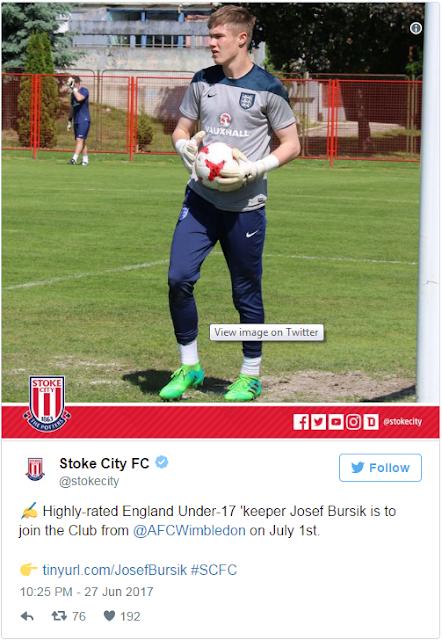 RESMI : Stoke City Dapatkan Kiper Inggris U-17