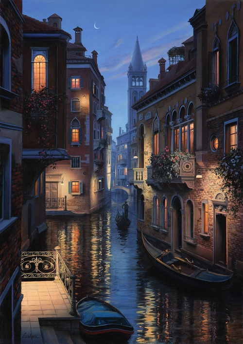 02-An-Evening-in-Venice-Evgeny-Lushpin-Scenes-of-Realistic-Night-Time-Paintings-www-designstack-co