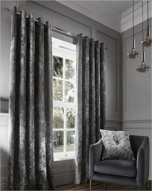 grey crushed velvet eyelet blackout curtains