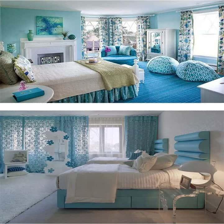 غرفة نوم باللون ازرق وابيض